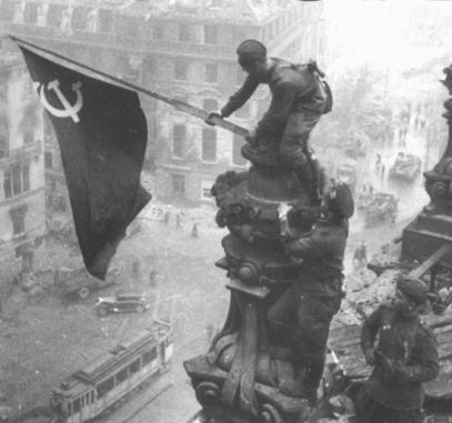 red flag over reichstag